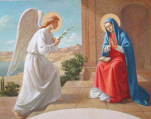 Благовещение Пресвятой Богородицы, роспись Свято-Троицкого храма, город Мирный