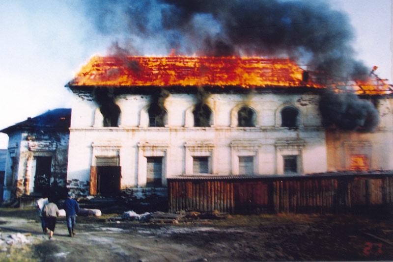 Пожар в здании бывшего Спасского собора г. Олёкминска